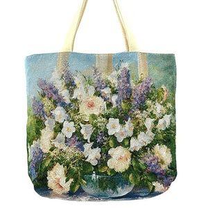 Handbags - Lilac Blue Floral Print Canvas Tote Bag Purse New